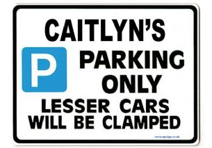 CAITLYN'S Personalised Parking Sign Gift | Unique Car Present for Her |  Size Large - Metal faced